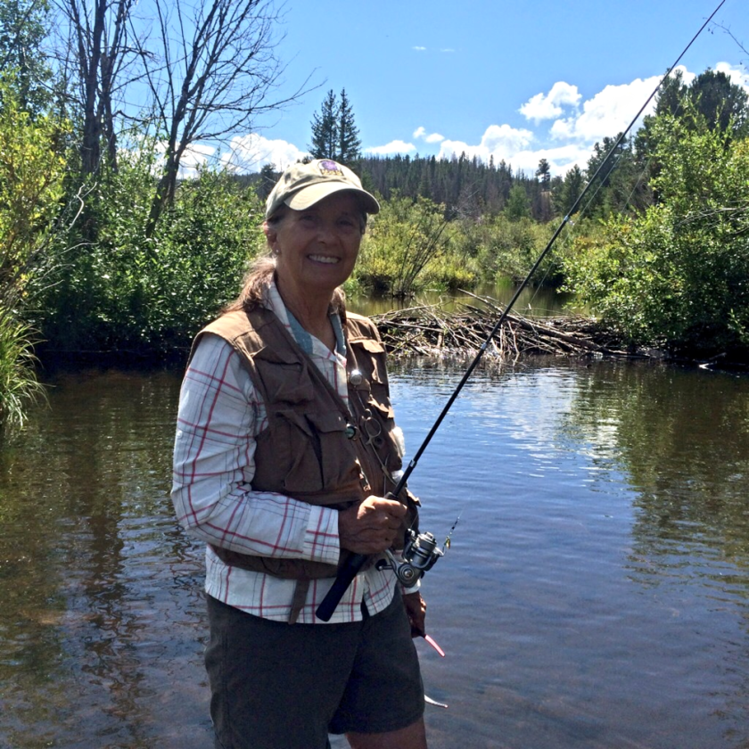 Sal fishing in Sand Creek off 80C, caught 6, or so, Brook Trout and we tossed them all back, unharmed...,.